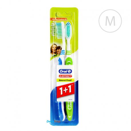Oral-B 3-EFFECT Natural Fresh dwupak - Medium - zielona i niebieska