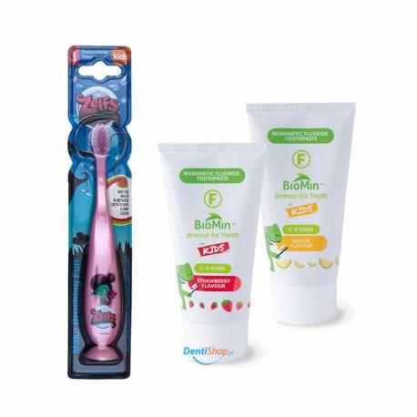 BioMin Kids Truskawka i Melon plus szczoteczka Zelfs